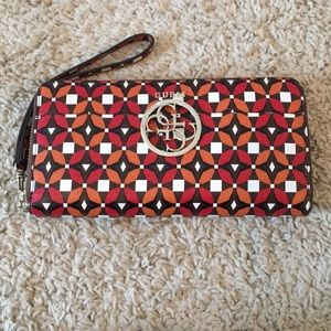 Geometric Patterned Wallet with Wrist Wrap